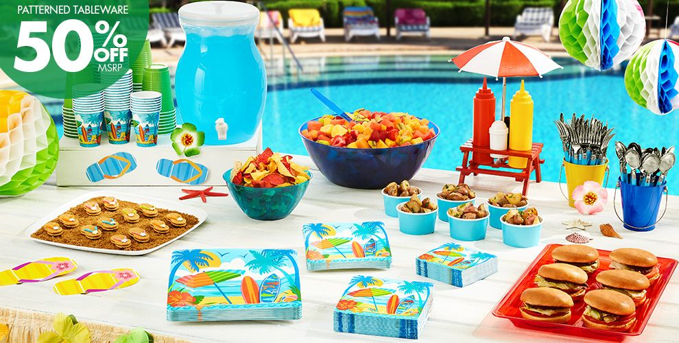 Patterned Tableware 50% off MSRP — Beach Party Theme