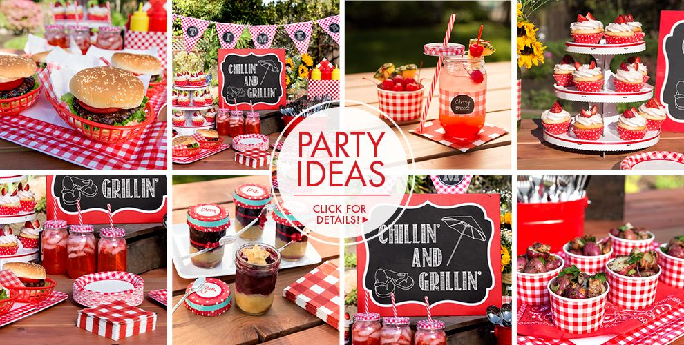 Picnic party theme picnic themed party supplies party city for What to serve at a bbq birthday party