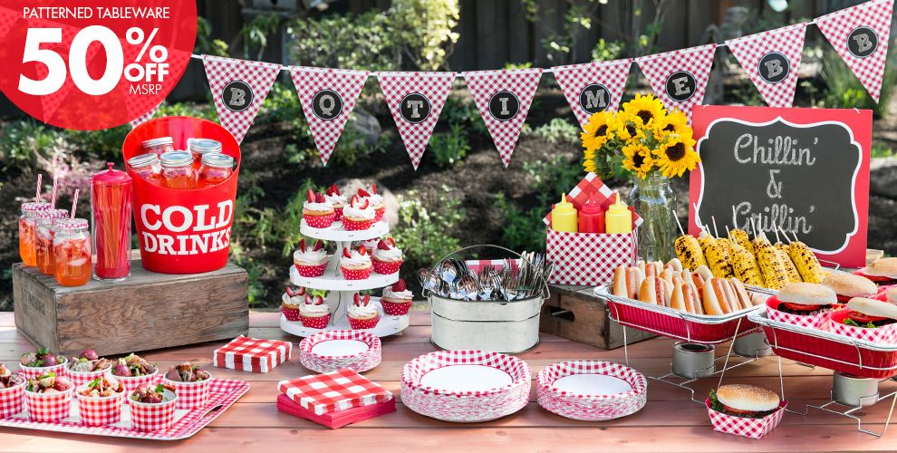 Gingham Picnic Party Theme - Patterned Tableware 50% Off MSRP