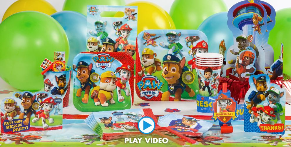 Paw patrol party supplies paw patrol birthday party city for Backyard party decoration crossword