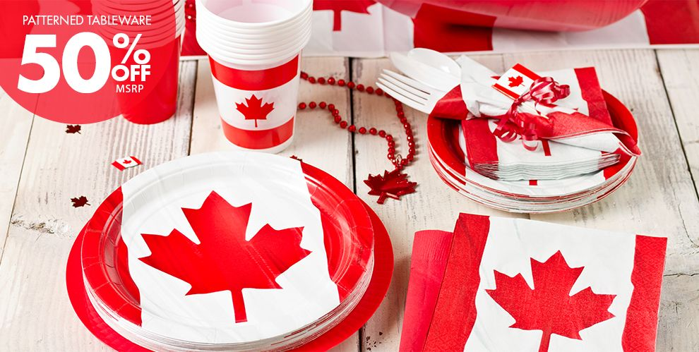 Canada Party Supplies — Patterned Tableware 50% off MSRP