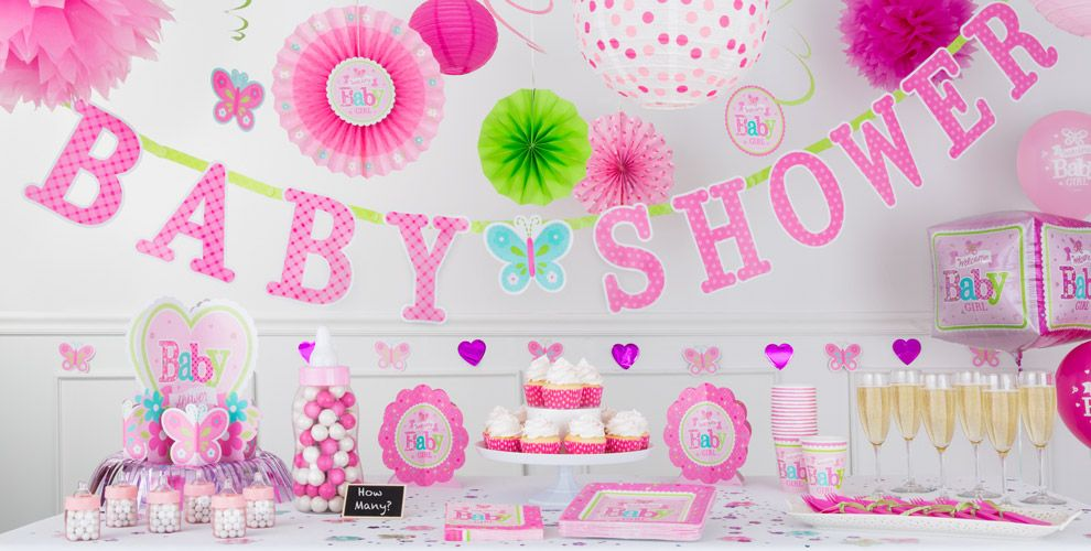Welcome baby girl baby shower party supplies party city for Baby shower decoration kits girl