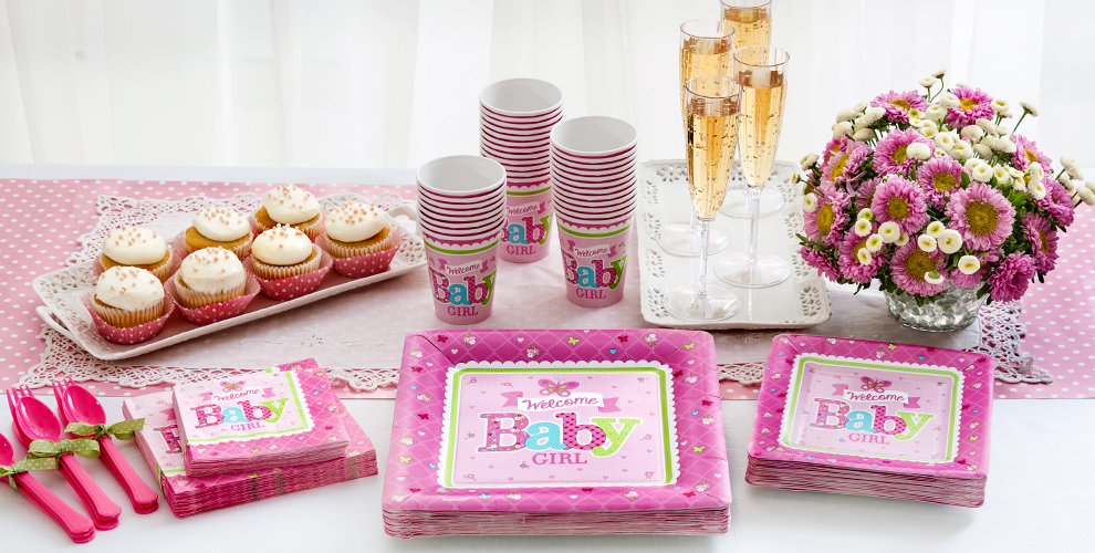Patterned Tableware 50% off MSRP — Welcome Baby Girl Baby Shower Party Supplies