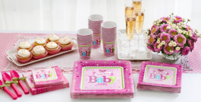Patterned Tableware 50% Off MSRP U2014 Welcome Baby Girl Baby Shower Party  Supplies ...