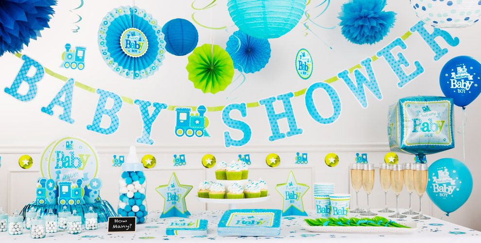 Welcome baby boy baby shower party supplies party city for Baby shower function decoration