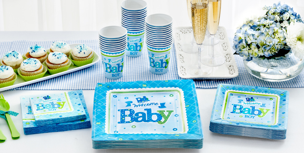 Welcome baby boy baby shower party supplies party city for Baby welcome party decoration ideas
