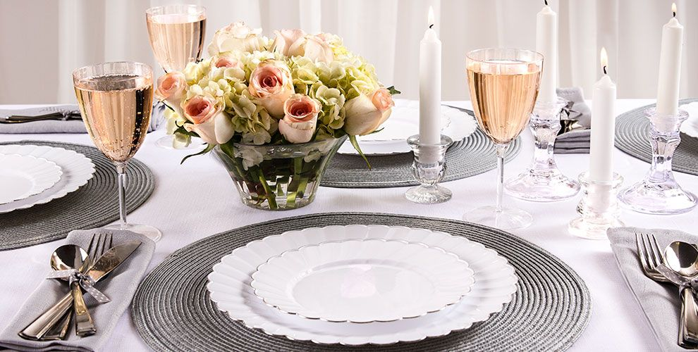 White Scalloped Plate Family