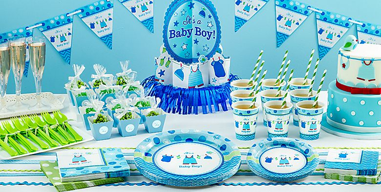 Baby shower themes baby shower tableware party city for Baby shower decoration kits boy