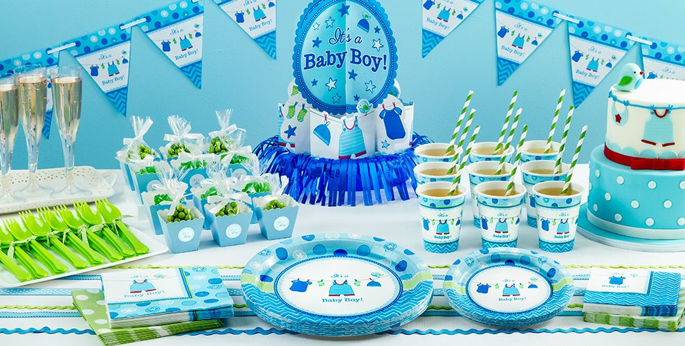 It 39 s a boy baby shower party supplies party city for Baby boy shower decoration kits