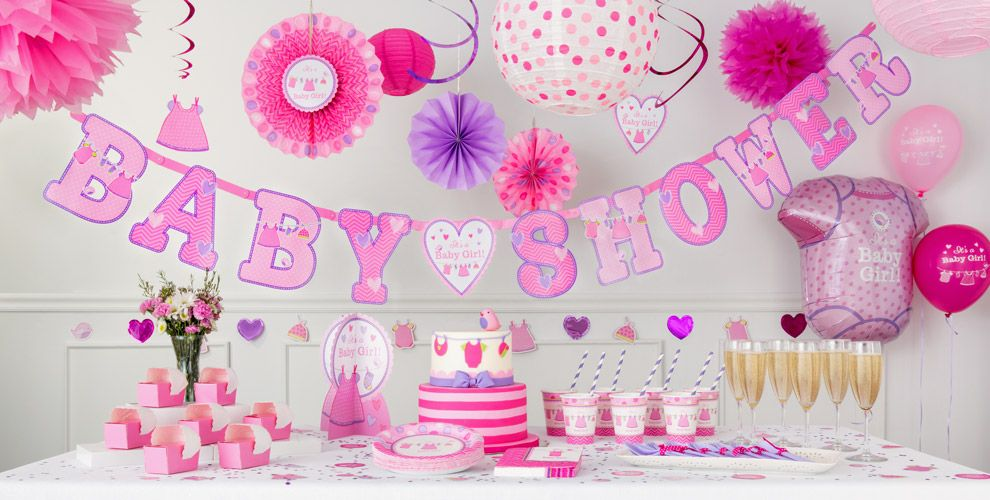 It 39 s a girl baby shower party supplies party city for Baby shower decoration themes for girls