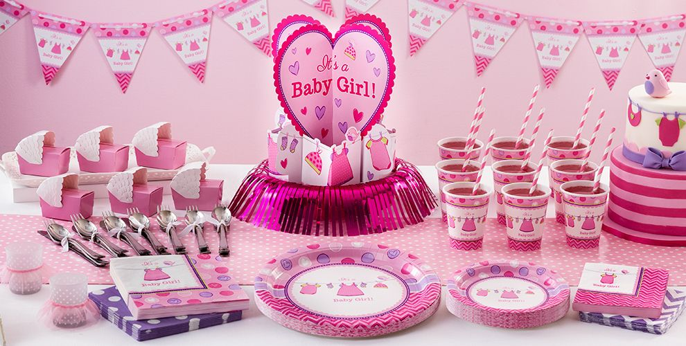 Its a girl baby shower party supplies party city patterned tableware 50 off msrp its a girl baby shower party supplies negle