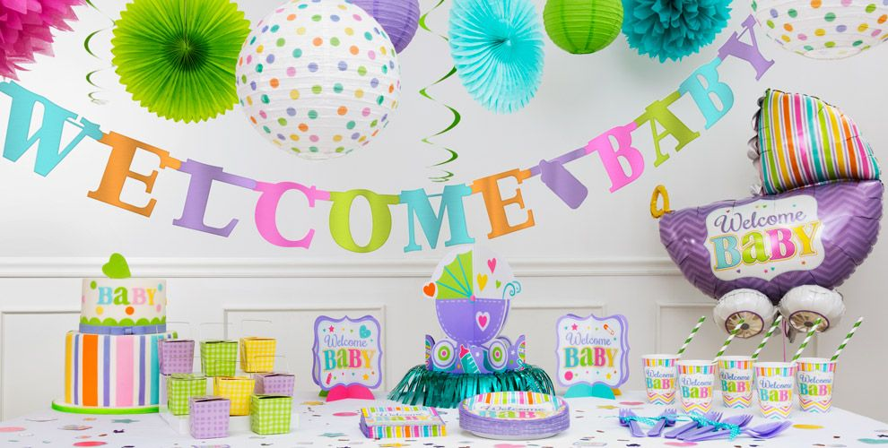 Pastel rainbow chevron welcome baby party supplies party city - Baby shower chevron decorations ...