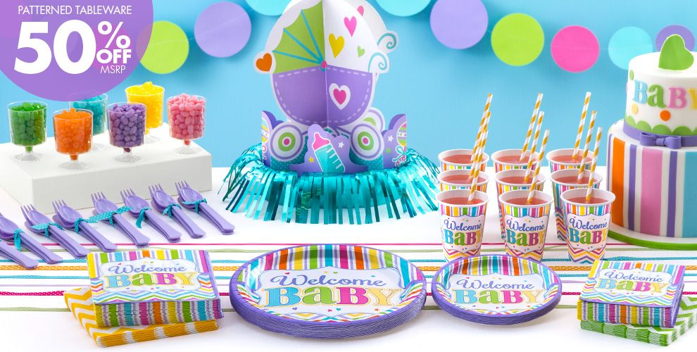 Welcome Baby Party Supplies - Bright Chevron Stripe