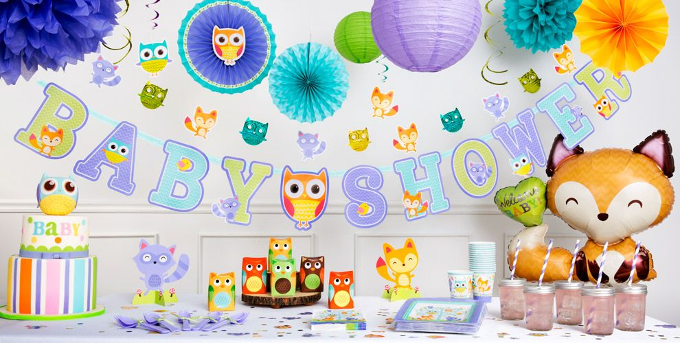 Woodland baby shower party supplies party city for Baby welcome party decoration ideas