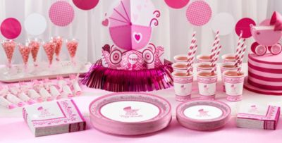 Girl Baby Shower Decorations Part - 21: Patterned Tableware 50% Off MSRP U2014 Pink Stroller Baby Shower Party Supplies  ...