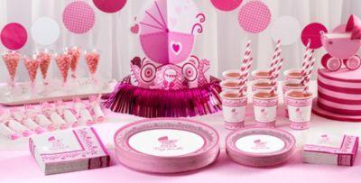 Patterned Tableware 50% Off MSRP U2014 Pink Stroller Baby Shower Party Supplies  ...