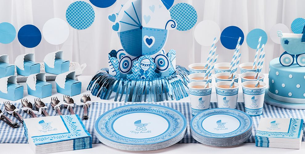 Blue stroller baby shower party supplies party city for Baby shower decoration kits boy