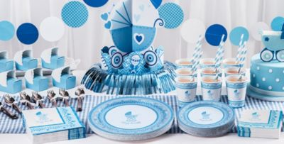 Superior Blue Stroller Baby Shower Party Supplies U2013 50% Off Patterned Tableware MSRP  ...