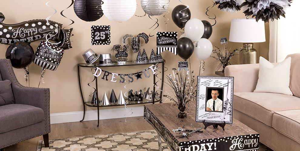 Black white birthday party supplies party city - Black silver and white party decorations ...
