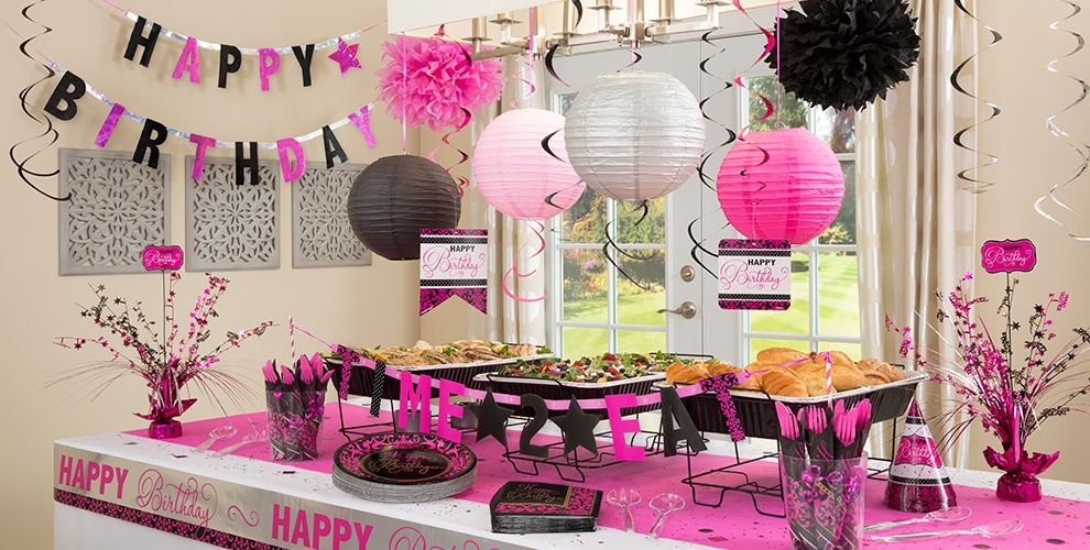 Black pink birthday party supplies party city for Home alone theme decorations