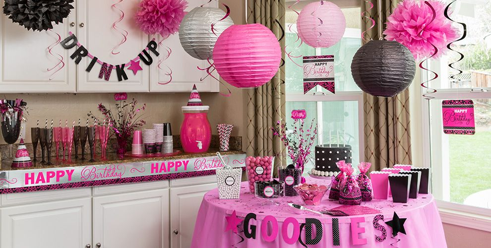 Black pink birthday party supplies party city for Adult birthday decoration ideas