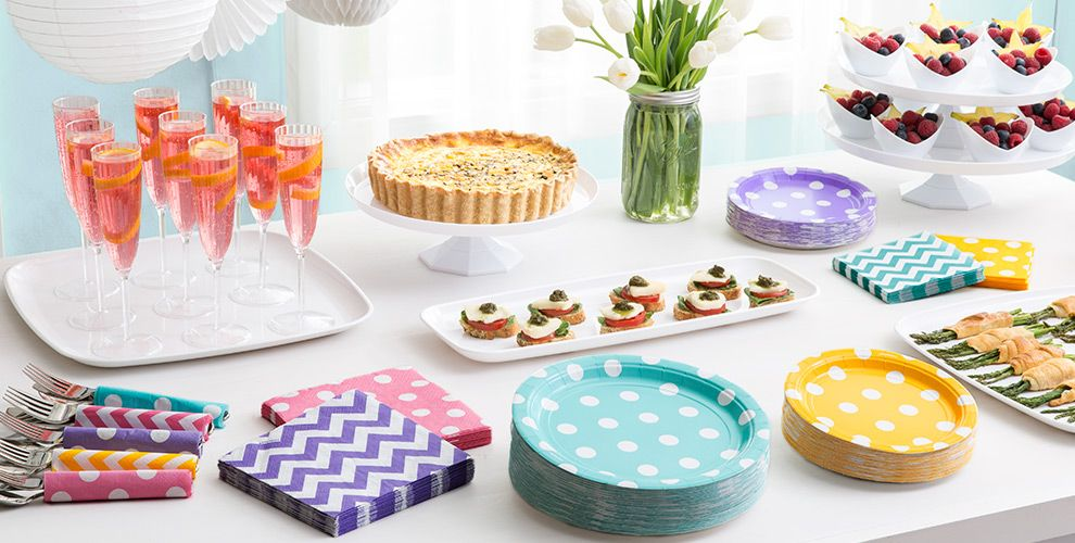 Patterned Tableware 50% off MSR — Robin's Egg Blue Polka Dot Party Supplies