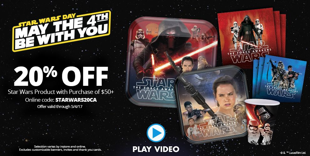 Star Wars Day May the 4th Be With You 20% off Star Wars Product with Purchase of $50+ Online Code: STARWARS20CA – Offer Valid Through 5/4/17