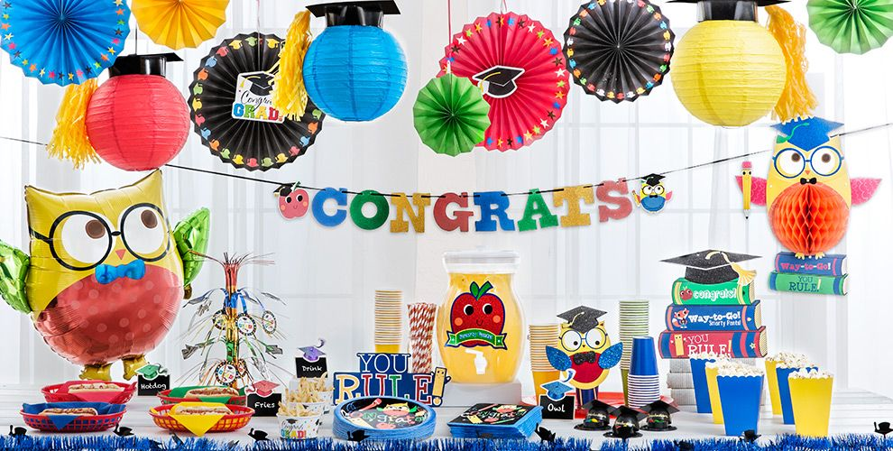 Schoolhouse Chalkboard Graduation Party Supplies — Congrats Grad 2017