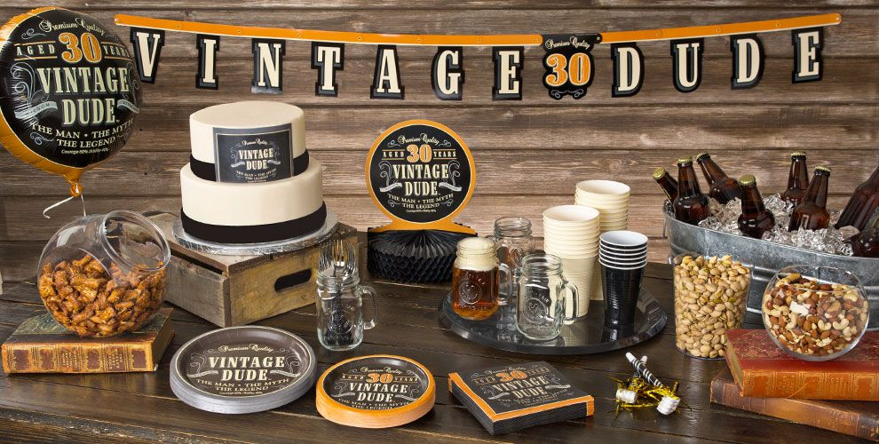 Vintage Dude Over the Hill 30th Party Supplies
