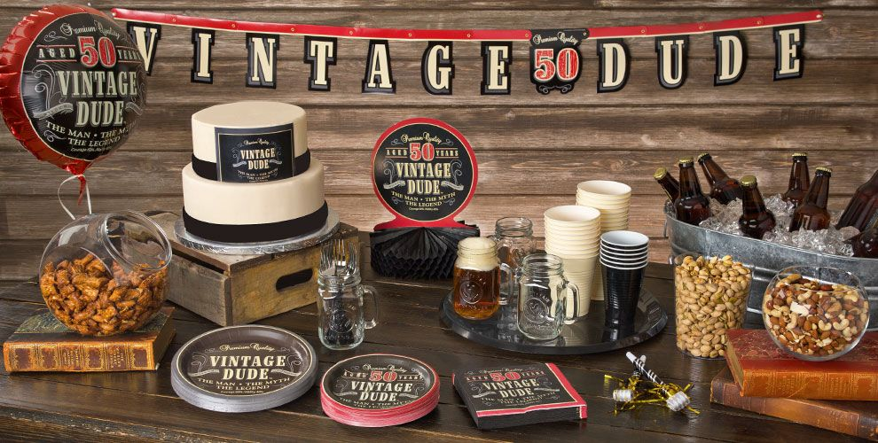 Vintage dude 50th birthday party supplies 50th birthday for 50th birthday decoration ideas for men
