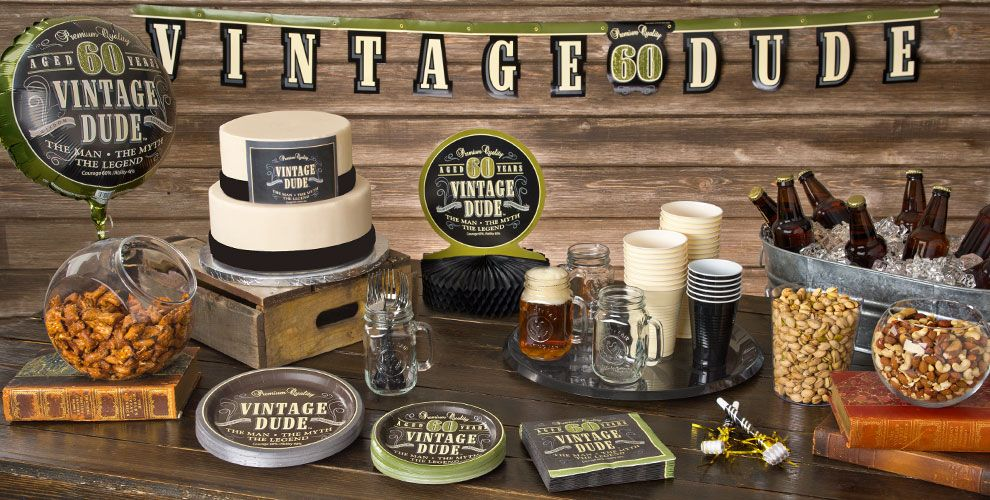 Vintage Dude Over the Hill Party Supplies 60th
