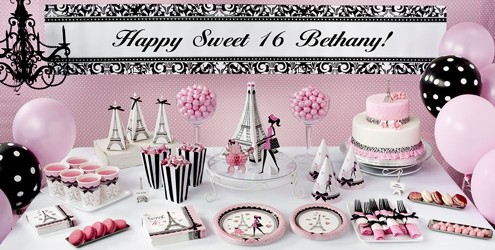 Paris Sweet 16 Birthday Party Supplies