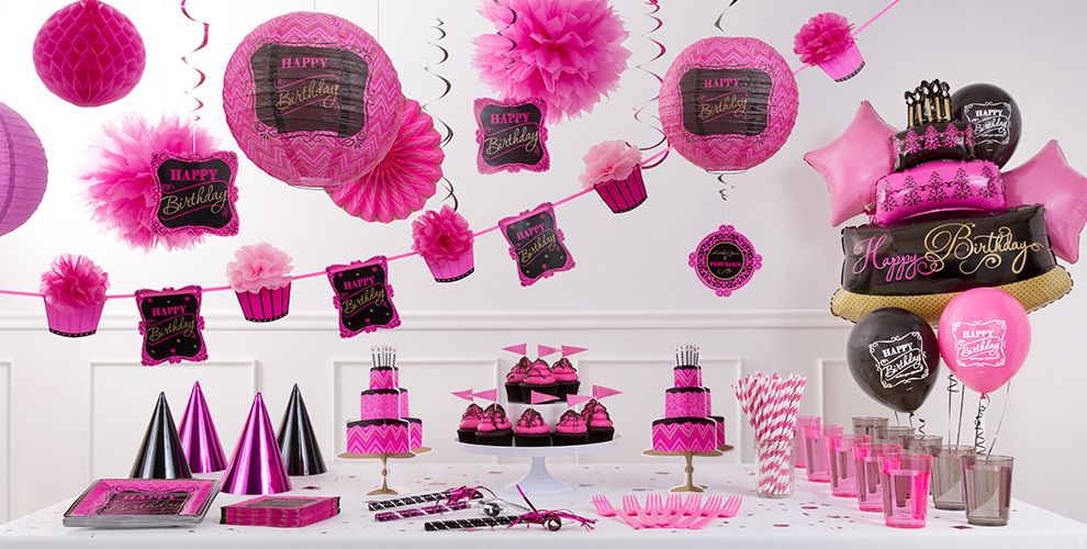 Pink Chevron Birthday Party Supplies