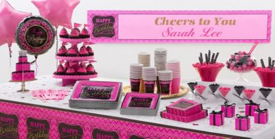 Pink Chevron Birthday Party Supplies Pink Gold Party