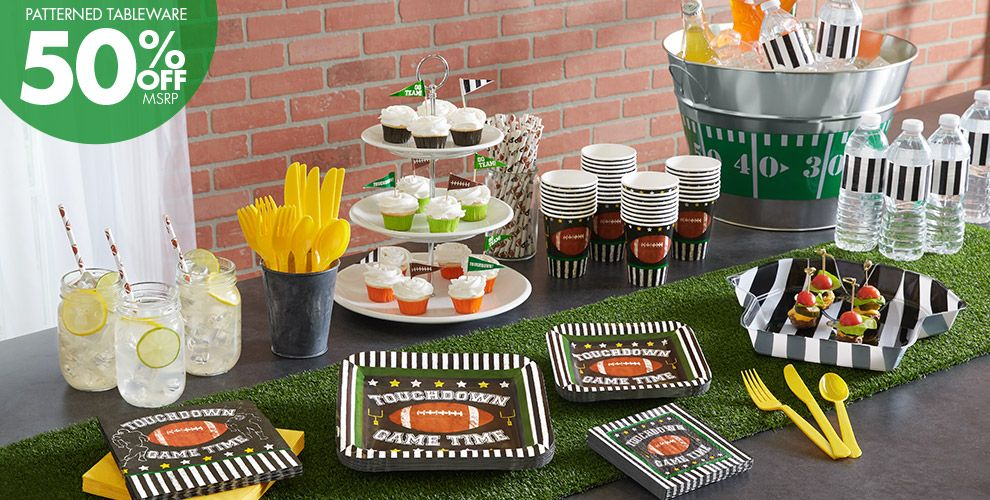 Football Party Supplies - 50% Off Patterned Tableware MSRP