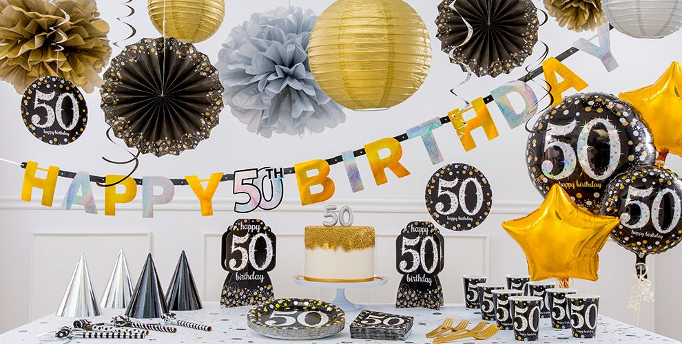 Sparkling celebration 50th birthday party supplies party for 50th birthday party decoration