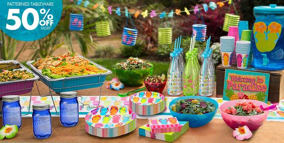 Bright Flip Flop Party Supplies – 50% off Patterned Tableware MSRP