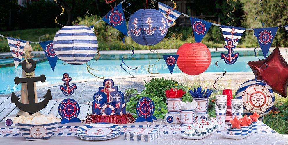Striped Nautical Theme Party - Party City