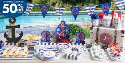 Nautical Themed Birthday Party Supplies Part - 15: Nautical Party Supplies - Patterned Tableware 50% Off MSRP ...