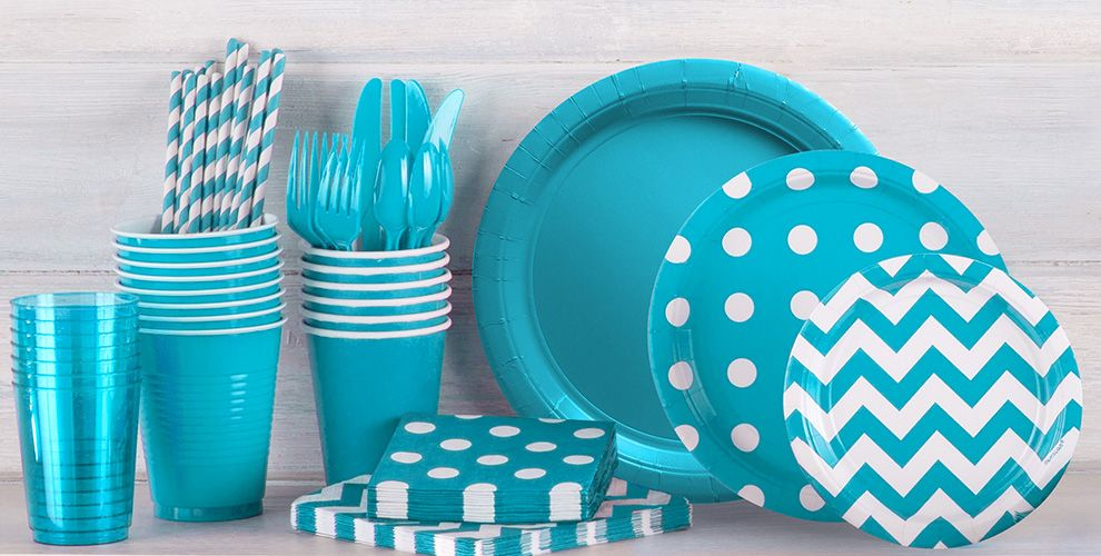 Caribbean Blue Polka Dot Party Supplies - Patterned Tableware 50% off MSRP
