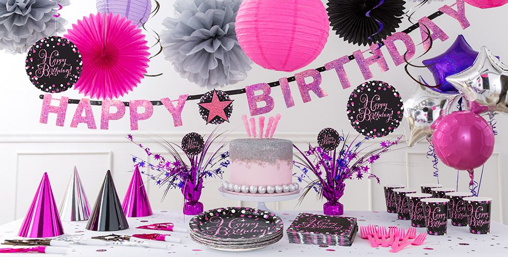 Pink Sparkling Celebration Happy Birthday Party Supplies
