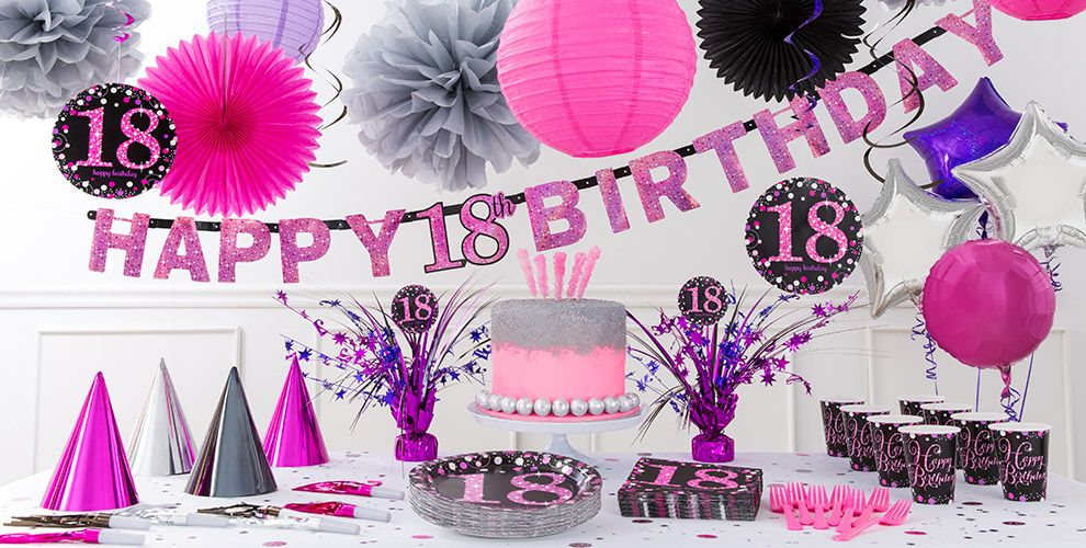 Pink sparkling celebration 18th birthday party supplies for 18th birthday decoration