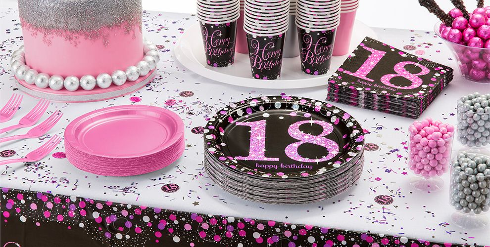 Pink Sparkling Celebration 18th Birthday Party Supplies - Party City