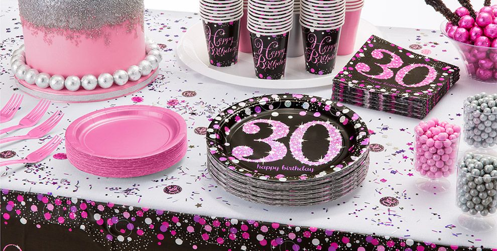Pink sparkling celebration 30th birthday party supplies for 30th birthday decoration