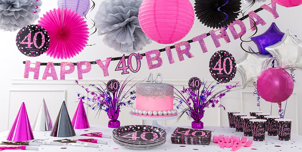 Pink sparkling celebration 40th birthday party supplies for 40th birthday decoration