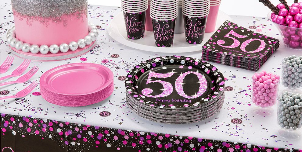 Pink sparkling celebration 50th birthday party supplies for 30th birthday party decoration