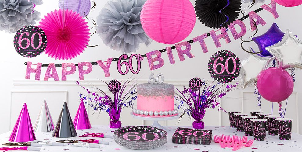 Pink sparkling celebration 60th birthday party supplies for 60 birthday decoration party