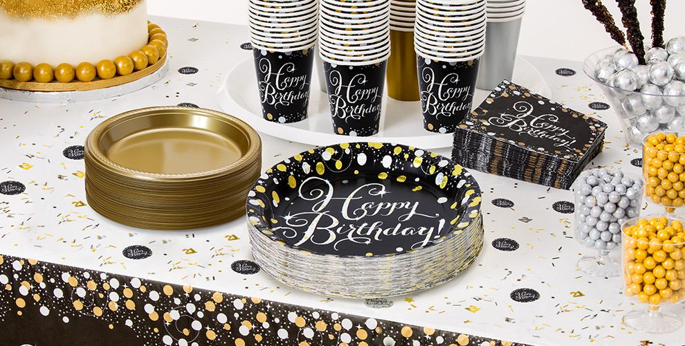 Patterned Tableware 50% off MSRP — Sparkling Happy Birthday Party Supplies