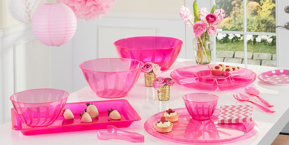 Bright Pink Serving Trays, Bowls & Utensils