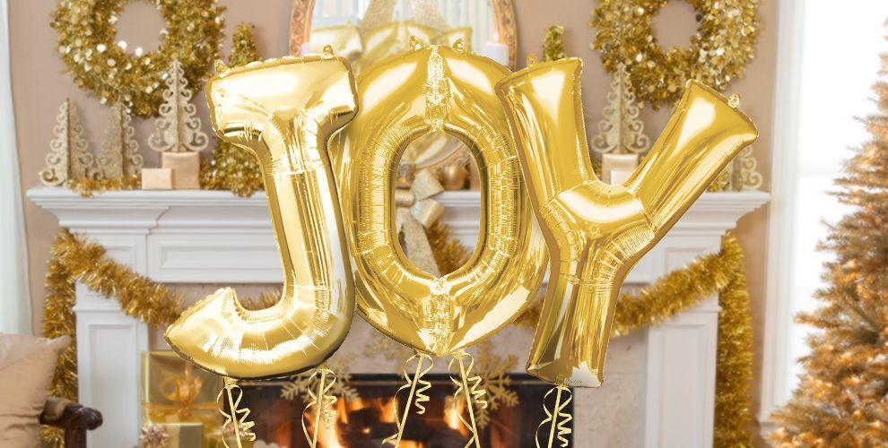 gold letter balloons